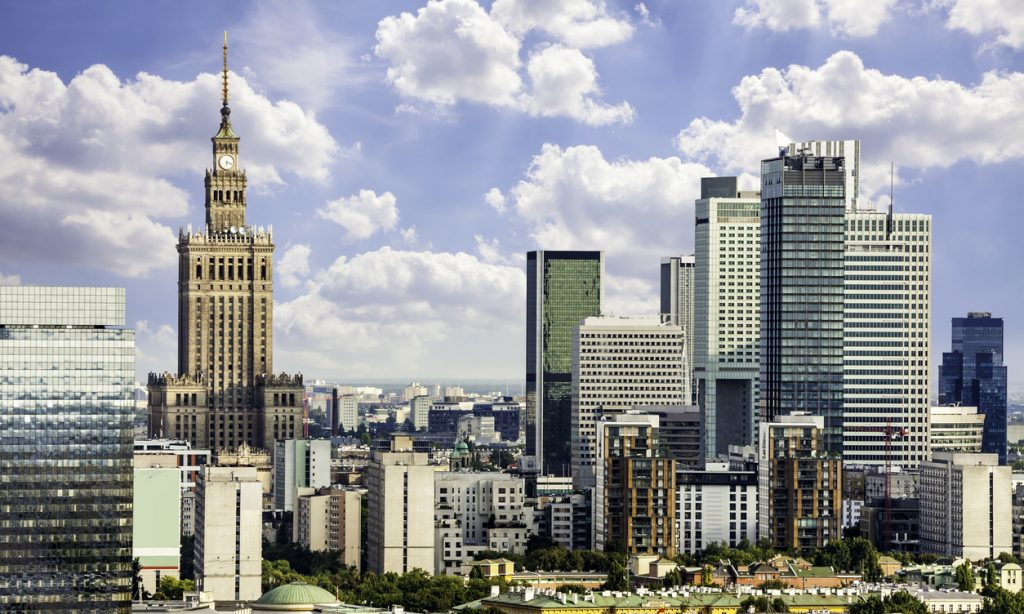 Warsaw business district at sunny day. Aerial View.